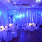 Theatrical lighting converts a boring ballroom into a spectacular space