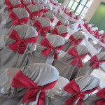 Chair covers transformed this ceremony setting
